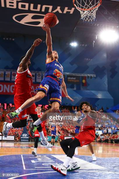 Nathan Sobey of the 36ers lays up during the round 17 NBL match between the Perth Wildcats and the Adelaide 36ers at Perth Arena on February 2 2018...