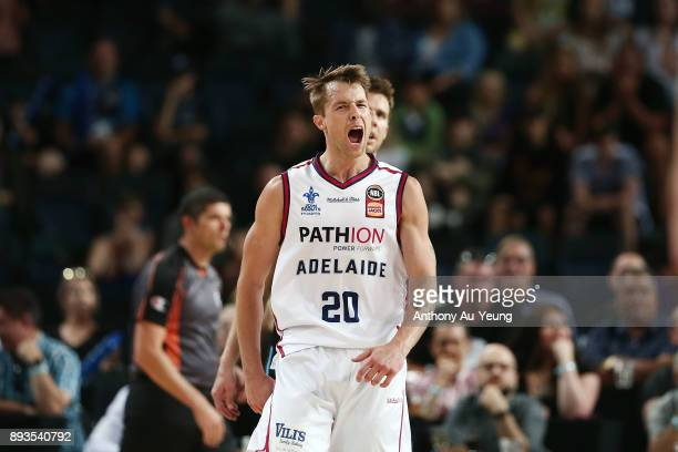 Nathan Sobey of the 36ers reacts after throwing down a monster alleyoop slam during the round 10 NBL match between the New Zealand Breakers and the...