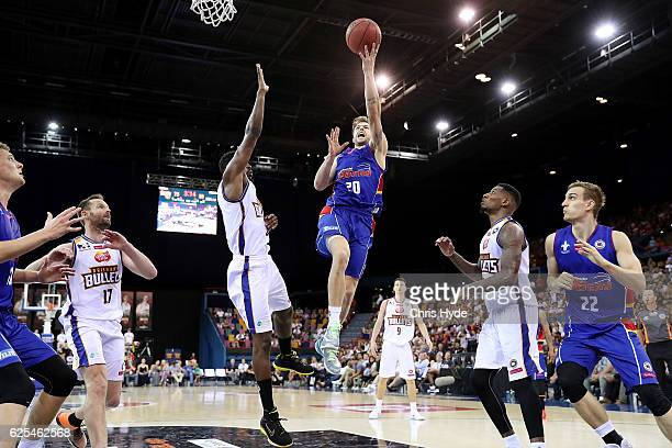Nathan Sobey of the 36ers shoots during the round eight NBL match between the Brisbane Bullets and the Adelaide 36ers at the Brisbane Entertainment...