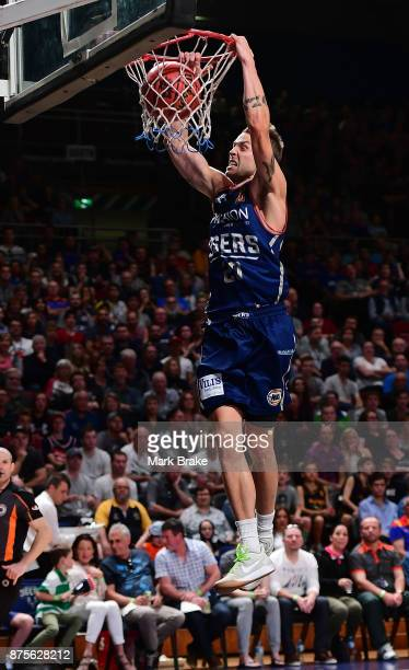 Nathan Sobey of the 36ers slam dunks during the round seven NBL match between Adelaide 36ers and the Sydney Kings at Titanium Security Arena on...