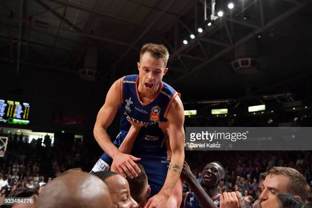 Nathan Sobey of the Adelaide 36ers celebrates after game two of the NBL Grand Final series between the Adelaide 36ers and Melbourne United at...