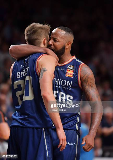 Nathan Sobey of the Adelaide 36ers celebrates with Matthew Hodgson of the Adelaide 36ers after the final siren during the round nine NBL match...