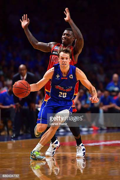 Nathan Sobey of the Adelaide 36ers drives to the basket during the round 12 NBL match between the Adelaide 36ers and the Perth Wildcats at Titanium...