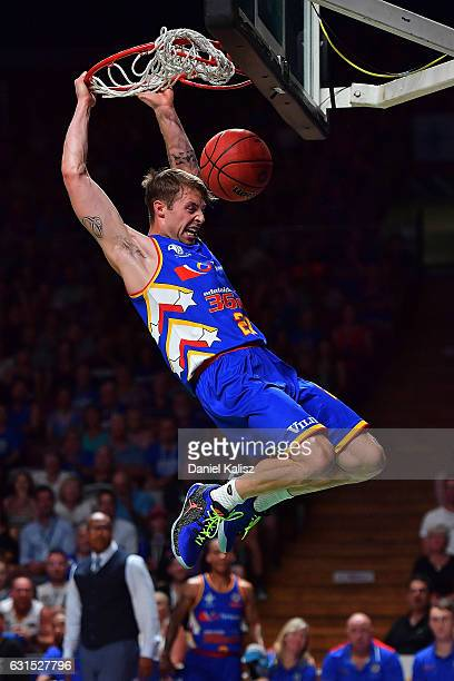 Nathan Sobey of the Adelaide 36ers dunks during the round 15 NBL match between the Adelaide 36ers and Melbourne United at Titanium Security Arena on...