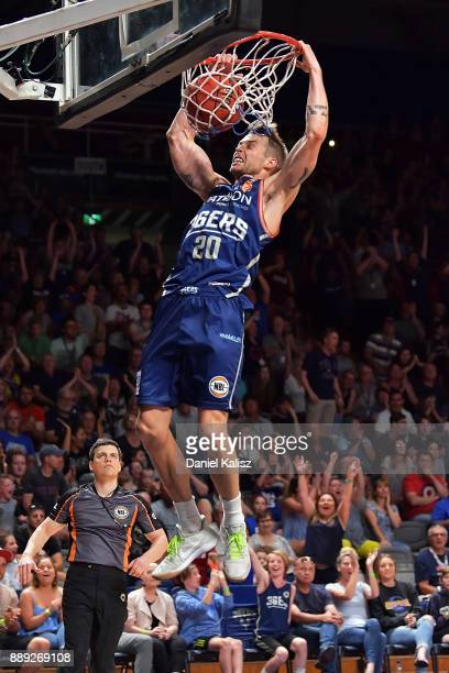 Nathan Sobey of the Adelaide 36ers dunks during the round nine NBL match between the Adelaide 36ers and the New Zealand Breakers at Titanium Security...