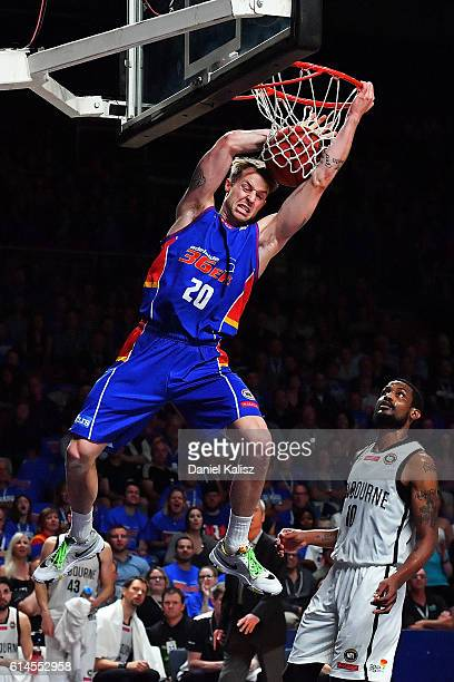 Nathan Sobey of the Adelaide 36ers dunks during the round two NBL match between the Adelaide 36ers and Melbourne United at the Adelaide Entertainment...