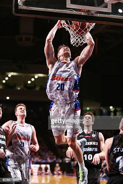 Nathan Sobey of the Adelaide 36ers dunks the ball during the round 10 NBL match between the Adelaide 36ers and the New Zealand Breakers at Titanium...