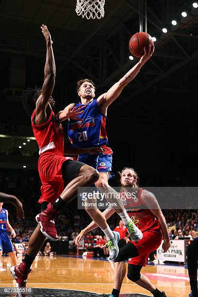 Nathan Sobey of the Adelaide 36ers goes for the basket during the round nine NBL match between the Adelaide 36ers and the Perth Wildcats at Adelaide...