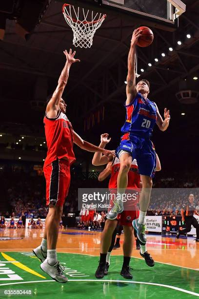 Nathan Sobey of the Adelaide 36ers lays the ball up during the game one NBL Semi Final between Adelaide and Illawarra at Titanium Security Arena on...