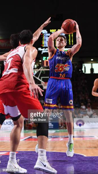 Nathan Sobey of the Adelaide 36ers looks to pass during the round 15 NBL match between the Adelaide 36ers and the Illawarra Hawks at Titanium...