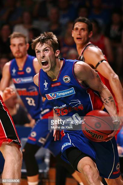 Nathan Sobey of the Adelaide 36ers moves the ball forward during the round 14 NBL match between the Adelaide 36ers and the Illawarra Hawks at...