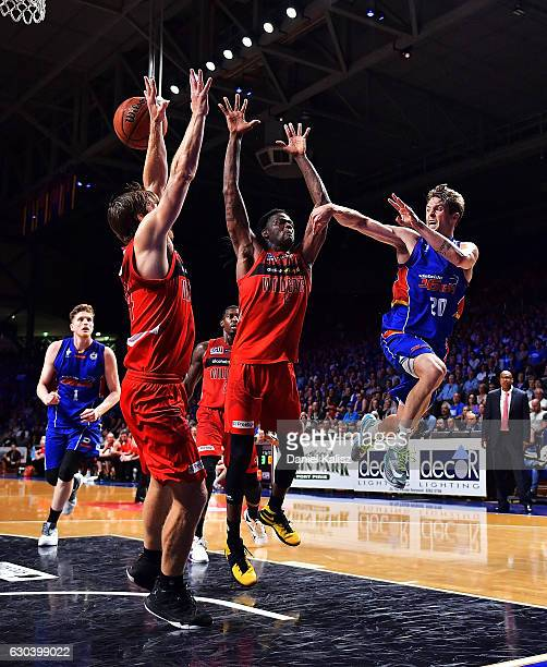 Nathan Sobey of the Adelaide 36ers passes the ball during the round 12 NBL match between the Adelaide 36ers and the Perth Wildcats at Titanium...