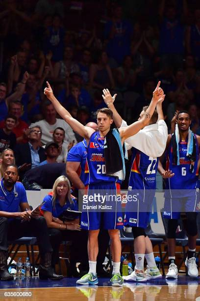 Nathan Sobey of the Adelaide 36ers reacts during the game one NBL Semi Final between Adelaide and Illawarra at Titanium Security Arena on February 16...