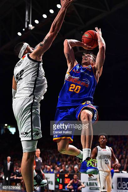 Nathan Sobey of the Adelaide 36ers shoots during the round 15 NBL match between the Adelaide 36ers and Melbourne United at Titanium Security Arena on...