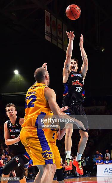 Nathan Sobey of the Adelaide 36ers shoots during the round 16 NBL match between the Adelaide 36ers and the Sydney Kings at Titanium Security Arena on...