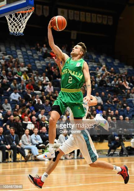 Nathan Sobey of the Boomers charges to the basket during the FIBA World Cup Qualifier match between the Australian Boomers and Kazakhstan at Bendigo...