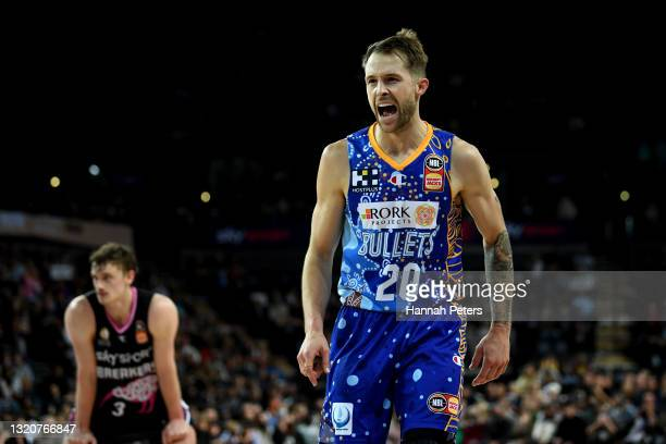 Nathan Sobey of the Brisbane Bullets celebrates during the round 20 NBL match between New Zealand Breakers and Brisbane Bullets at Spark Arena, on...