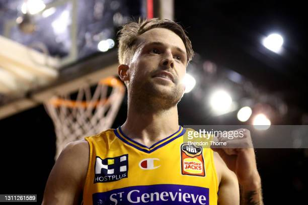 Nathan Sobey of the Bullets celebrates during the round 13 NBL match between the Illawarra Hawks and the Brisbane Bullets at WIN Entertainment...