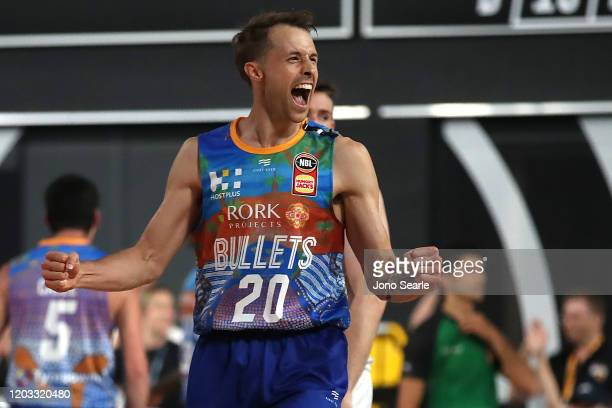 Nathan Sobey of the Bullets celebrates the teams win during the round 18 NBL match between the Brisbane Bullets and Melbourne United at Nissan Arena...