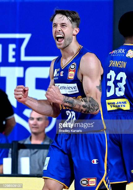 Nathan Sobey of the Bullets celebrates victory after the round three NBL match between the Brisbane Bullets and the Sydney Kings at Nissan Arena, on...