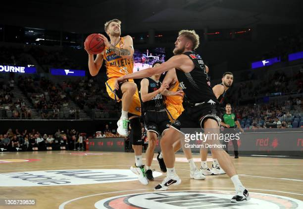 Nathan Sobey of the Bullets drives at the basket during the NBL Cup match between Melbourne United and the Brisbane Bullets at John Cain Arena on...