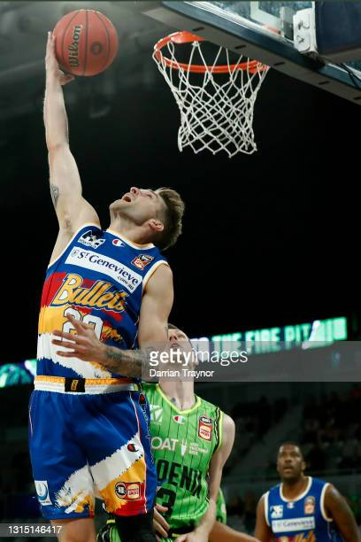 Nathan Sobey of the Bullets drives to the basket during the round 16 NBL match between the South East Melbourne Phoenix and the Brisbane Bullets at...
