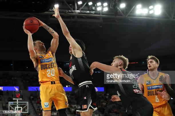 Nathan Sobey of the Bullets shoots during the NBL Cup match between Melbourne United and the Brisbane Bullets at John Cain Arena on March 07 in...