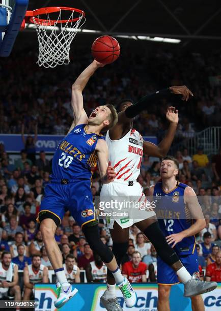 Nathan Sobey of the Bullets shoots the ball during the round 14 NBL match between the Brisbane Bullets and the Perth Wildcats at Nissan Arena on...
