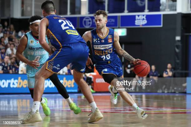 Nathan Sobey of the Bullets with the ball during the round 11 NBL match between the Brisbane Bullets and the New Zealand Breakers at Nissan Arena on...