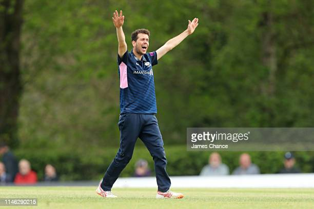 Nathan Sowter of Middlesex appeals to the umpire during the Royal London One Day Cup match between Middlesex and Somerset at Radlett cricket club on...