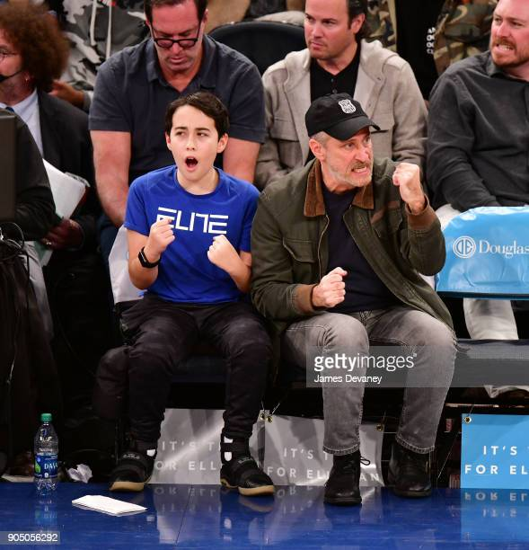 Nathan Stewart and Jon Stewart attend the New York Knicks Vs New Orleans Pelicans game at Madison Square Garden on January 14 2018 in New York City