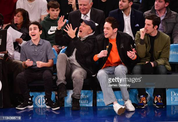 Nathan Stewart John Stewart Pete Davidson and John Mulaney attend Chicago Bulls v New York Knicks game at Madison Square Garden on April 1 2019 in...