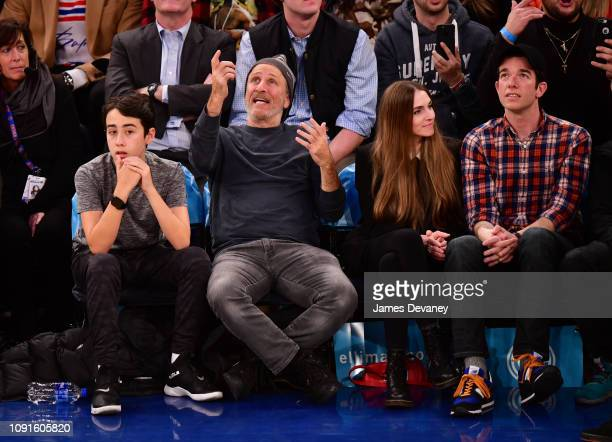 Nathan Stewart Jon Stewart Annamarie Tendler and John Mulaney attend Dallas Mavericks v New York Knicks game at Madison Square Garden on January 30...