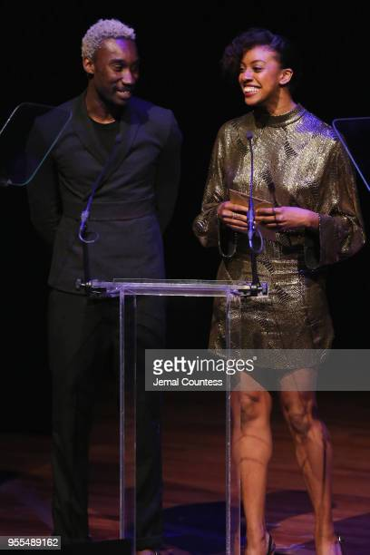 Nathan StewartJarrett and Condola Rashad speak onstage during the 33rd Annual Lucille Lortel Awards on May 6 2018 in New York City|