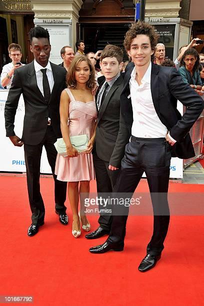 Nathan StewartJarrett Antonia Thomas Iwan Rheon and Robert Sheehan of 'Misfits' attend the Philips British Academy Television Awards at London...