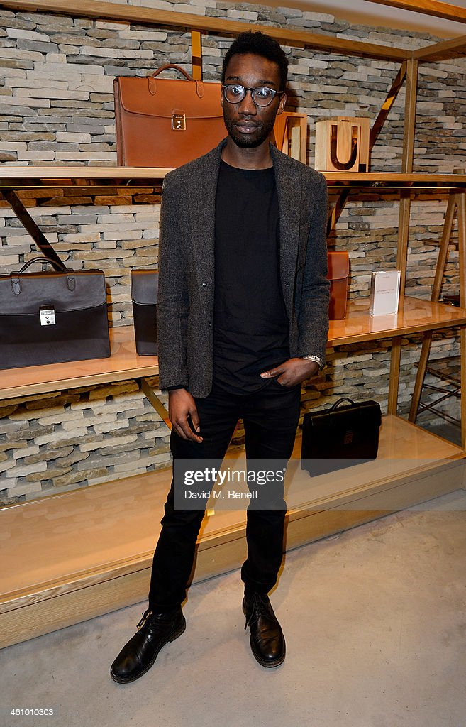 Nathan Stewart-Jarrett attends a cocktail party hosted by Mulberry in its flagship store on New Bond Street in celebration of London Collections: Mens and showcasing its Autumn Winter 2014 men's accessories collection on January 6, 2014 in London, England.