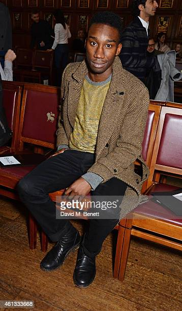 Nathan StewartJarrett attends the Pringe Of Scotland Autumn/Winter 2014 menswear runway show during London Collections Men at Middle Temple Hall on...