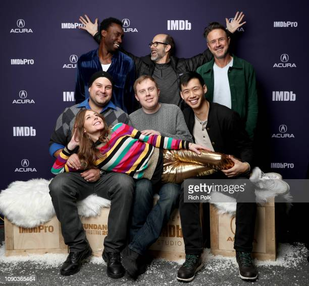 Nathan StewartJarrett Brian Huskey David Arquette Max Adler Lucas Heyne Kelly Sry and Tonya Cornelisse of 'Mope' attend The IMDb Studio at Acura...