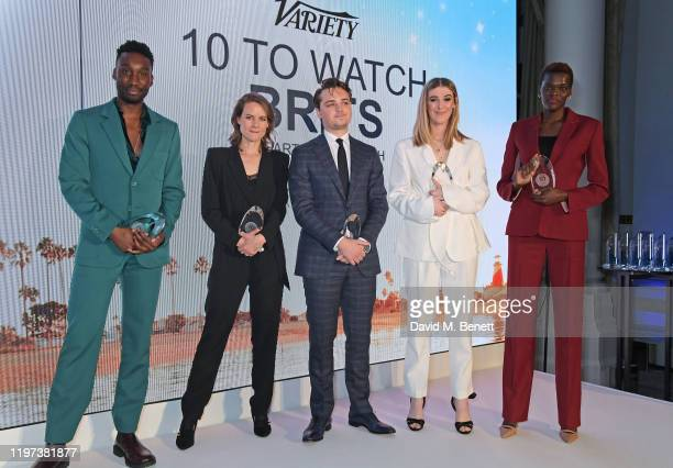 Nathan StewartJarrett Laura Solon DeanCharles Chapman Honor Swinton Byrne and Sheila Atim pose onstage at the Newport Beach Film Festival 6th Annual...