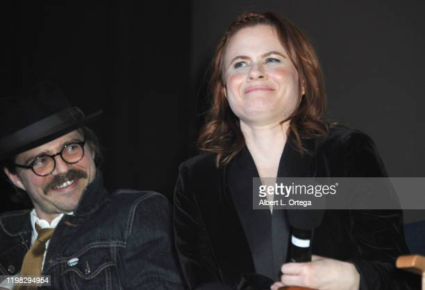 Nathan Sutton and Augie Duke answer questions during the Q A portion of the Premiere Of Burning Kentucky held at Fine Arts Theatre on February 2 2020...