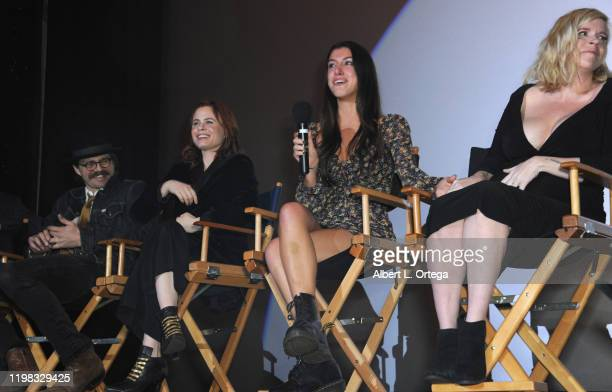 Nathan Sutton Augie Duke Emilie Dhir and Bethany Brooke Anderson answer questions during the Q A portion of the Premiere Of Burning Kentucky held at...