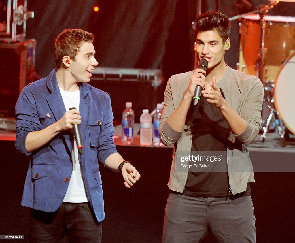 Nathan Sykes and Siva Kaneswaran of The Wanted performs at KIIS FM's Jingle Ball 2012 night 2 at Nokia Theatre LA Live on December 3, 2012 in Los Angeles, California.