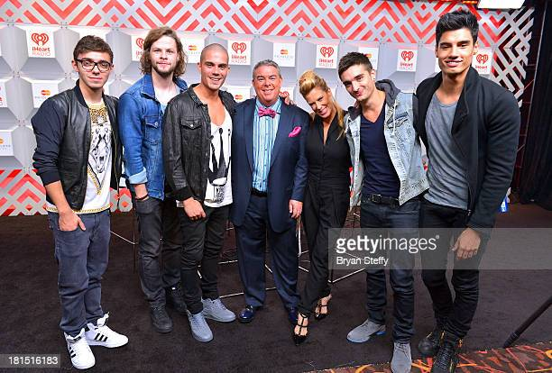 Nathan Sykes Jay McGuiness Max George Elvis Duran Ellen K Tom Parker and Siva Kaneswaran attend the iHeartRadio Music Festival at the MGM Grand...