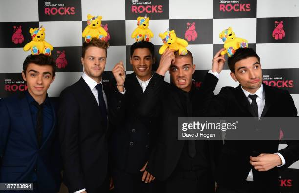 Nathan Sykes Jay McGuiness Siva Kaneswaran Max George and Tom Parker of The Wanted pose backstage during the 'BBC Children In Need Rocks' at Eventim...