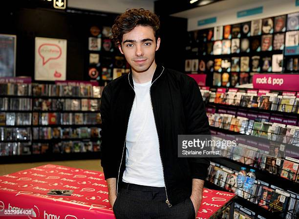 Nathan Sykes meets fans and signs copies of his new single 'Give It Up' at HMV on May 19 2016 in Leicester England