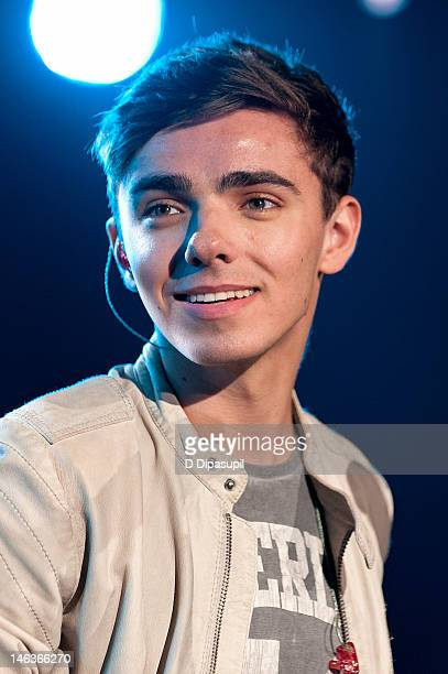 Nathan Sykes of The Wanted performs on stage during the Media Mixer industry event presented by Elvis Duran and The Morning Show at the iHeartRadio...