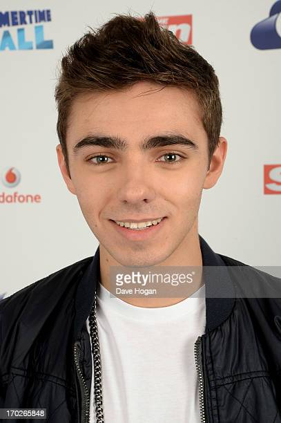 Nathan Sykes of The Wanted poses in a backstage studio during the Capital Summertime Ball at Wembley Stadium on June 9 2013 in London England
