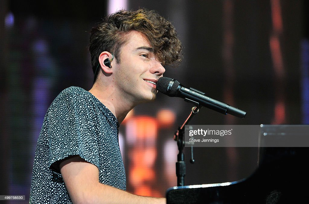 Nathan Sykes performs at the 99.7 WOW! Triple Ho show at SAP Center on December 2, 2015 in San Jose, California.