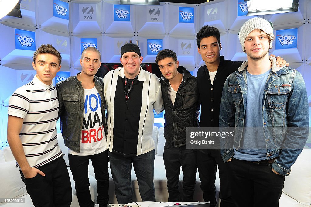 Nathan Sykes, Siva Kaneswaran, Jay McGuiness, Tom Parker, Max George of The Wanted and Dj JJ attend the Z100 Artist Gift Lounge Presented by Pop Tarts at Z100's Jingle Ball 2012 at Madison Square Garden on December 7, 2012 in New York City.