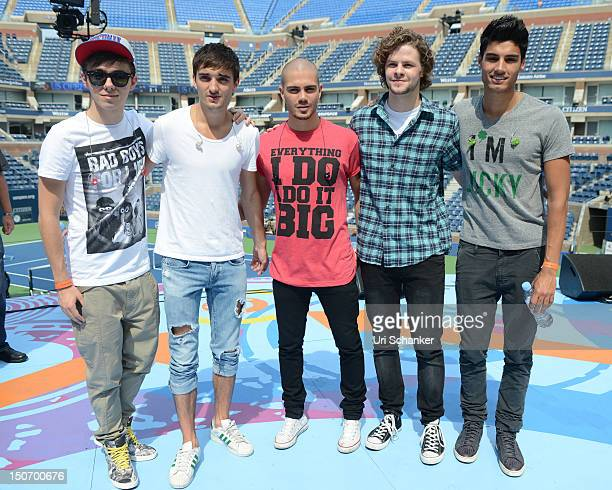 Nathan Sykes, Tom Parker, Max George, Jay McGuiness and Siva Kaneswaran of The Wanted pose during rehearsal for 2012 Arthur Ashe Kids' Day at the...